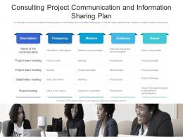 Consulting Project Communication And Information Sharing Plan