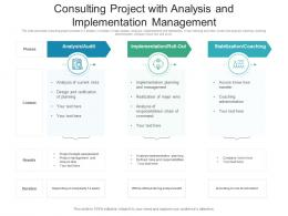 Consulting Project With Analysis And Implementation Management