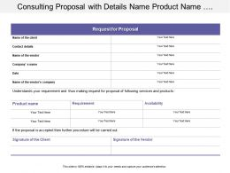Consulting Proposal With Details Name Product Name