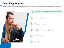 Consulting Services And Back Up Ppt Powerpoint Presentation Summary Format