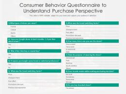 Consumer Behavior Questionnaire To Understand Purchase Perspective