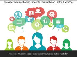 Consumer Insights Showing Silhouette Thinking Music Laptop And Message