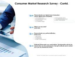 Consumer Market Research Survey Contd Affiliation Ppt Presentation Slides Grid
