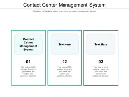 Contact Center Management System Ppt Powerpoint Presentation Infographics Diagrams Cpb