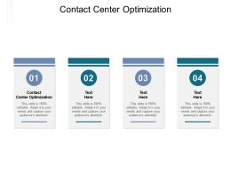 Contact Center Optimization Ppt Powerpoint Presentation Slides Portfolio Cpb