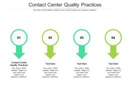 Contact Center Quality Practices Ppt Powerpoint Presentation Infographics Designs Cpb