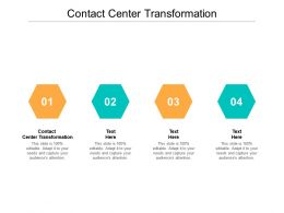 Contact Center Transformation Ppt Powerpoint Presentation Slides Portfolio Cpb