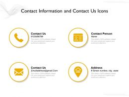Contact Information And Contact Us Icons