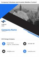 Contact Investor Relations And Business Investment Details One Page Template 232 Report Ppt Pdf Document