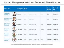 Contact Management With Lead Status And Phone Number