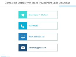 Contact Us Details With Icons Powerpoint Slide Download