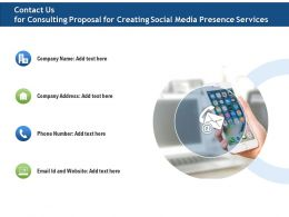 Contact Us For Consulting Proposal For Creating Social Media Presence Services Ppt File Brochure