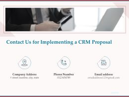 Contact Us For Implementing A CRM Proposal Ppt Powerpoint Presentation Gallery