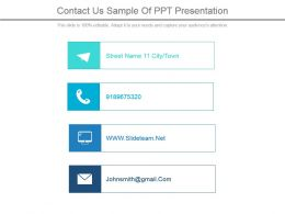 Contact Us Sample Of Ppt Presentation