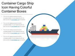 Container Cargo Ship Icon Having Colorful Container Boxes