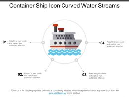 Container Ship Icon Curved Water Streams