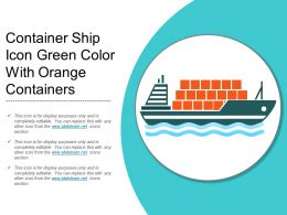 Container Ship Icon Green Color With Orange Containers