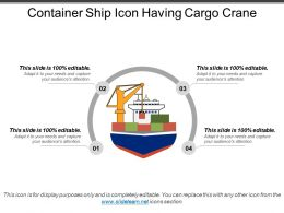 Container Ship Icon Having Cargo Crane
