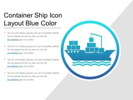Container Ship Icon Layout Blue Color