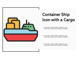 Container Ship Icon With A Cargo
