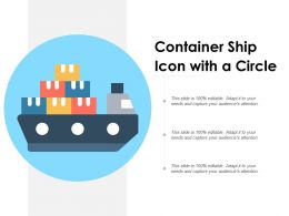 Container Ship Icon With A Circle