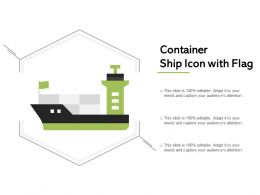 Container Ship Icon With Flag