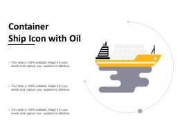 Container Ship Icon With Oil
