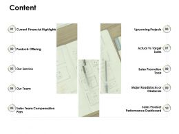Content Current Financial Highlights Our Team D95 Ppt Powerpoint Presentation Ideas Files