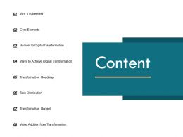 Content Digital Transformation Roadmap C279 Ppt Powerpoint Presentation Gallery Designs