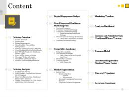 Content Fitness Center Health Club And Gym Ppt Powerpoint Presentation Icon Topics