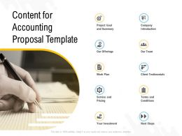 Content For Accounting Proposal Template Ppt Powerpoint Presentation Slides Templates