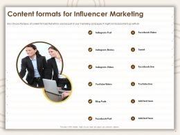 Content Formats For Influencer Marketing Facebook Video Ppt Powerpoint Presentation Outline