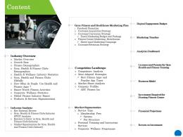 Content Health Club Industry Ppt Powerpoint Presentation Inspiration Slide Download