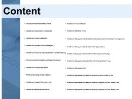 Content Healthcare System Financial Analysis Ppt Powerpoint Presentation Template Show