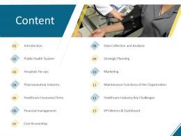 Content Hospital Management Ppt Outline Slide