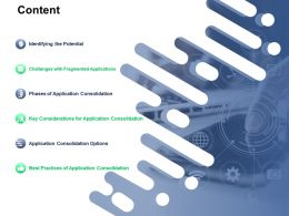 Content Key Considerations For Application Consolidation Ppt Powerpoint Presentation Infographics Show