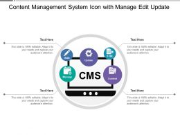 Content Management System Icon With Manage Edit Update