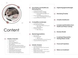 Content Market Entry Strategy Gym Health Fitness Clubs Industry Ppt Infographics