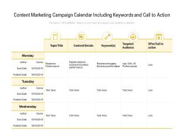 Content Marketing Campaign Calendar Including Keywords And Call To Action