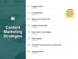 Content Marketing Strategies Ppt Powerpoint Presentation Slide