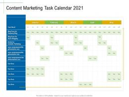 Content Marketing Task Calendar 2021 Marketing Roadmap Ideas Acquiring Customers Ppt Topics