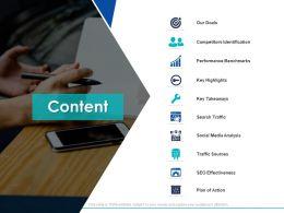Content Our Goals Performance Benchmarks Ppt Powerpoint Presentation Show Slide Portrait