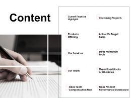 Content Our Team Our Services Ppt Powerpoint Presentation Gallery Outline