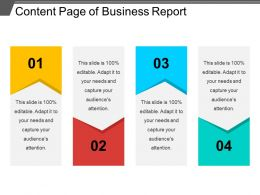 Content Page Of Business Report