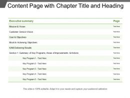 Content Page With Chapter Title And Heading