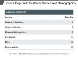 Content Page With Customer Service And Demographics