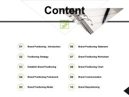 Content Positioning Strategy Ppt Powerpoint Presentation Icon Show