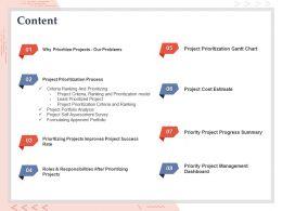 Content Project Prioritization Gantt Chart Ppt Powerpoint Presentation Templates