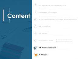 Content Slide SLM Performance Indicators Ppt Powerpoint Presentation Portfolio Deck