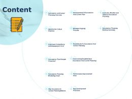 Content Succession Planning Backup Summary Ppt Powerpoint Presentation Infographics Outfit